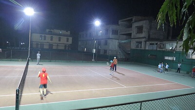 Tennis Court Lighting Setup