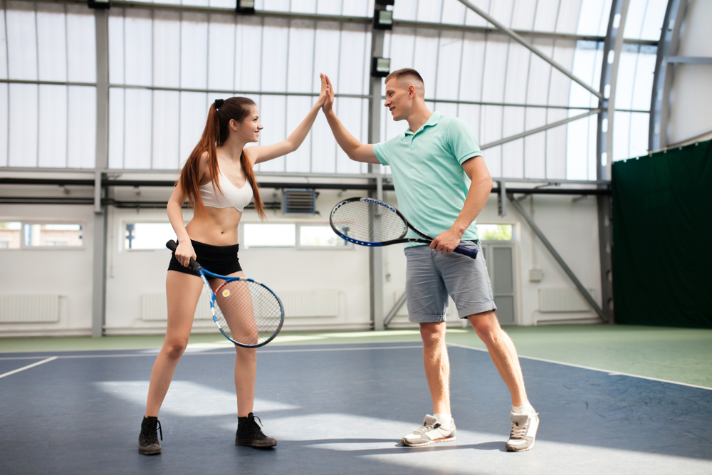 double playing tennis