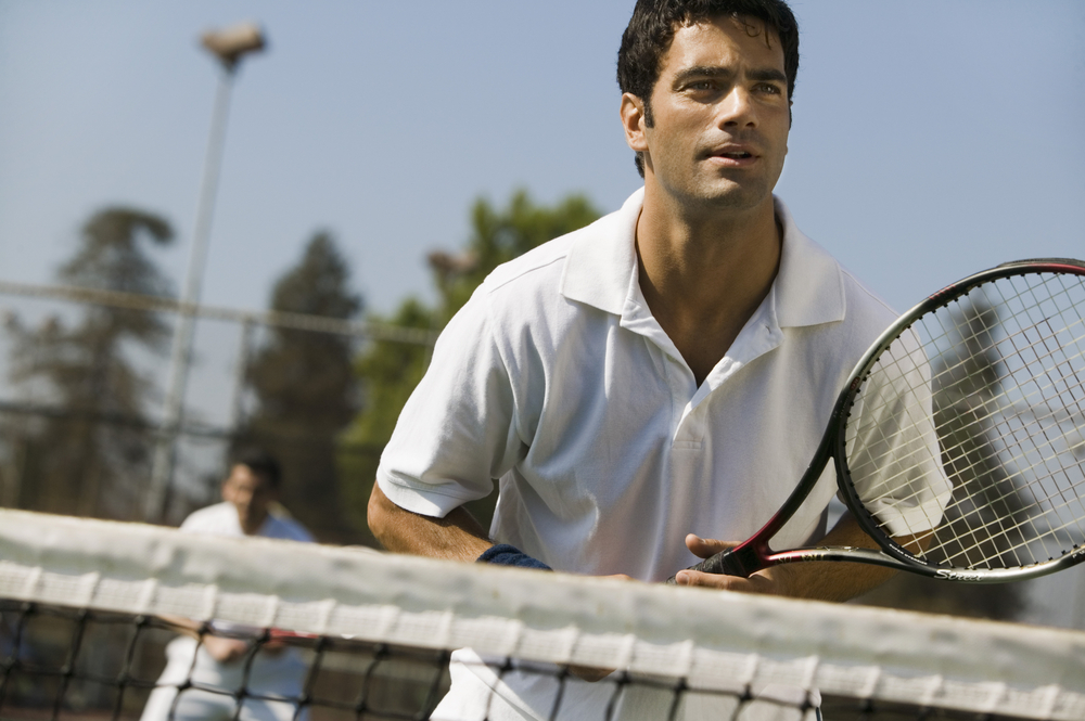 tennis player ready to receive