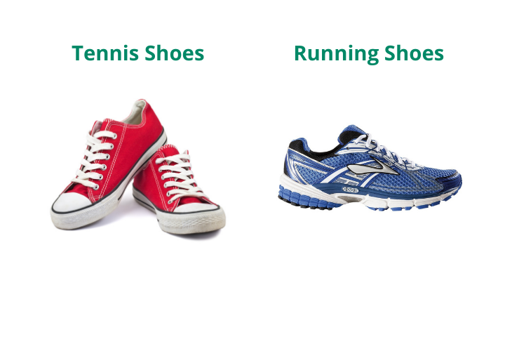 runing and tennis shoes